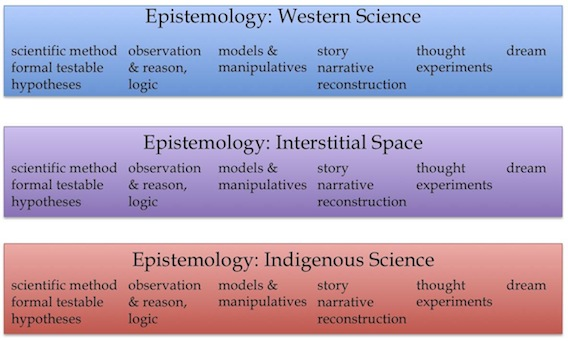 Figure 12. Even a small sample of methods used by Gould, Einstein, Watson, Crick, Pauling, and Kekulé demonstrates the broad range of epistemic systems available to Western scientists (blue bar). These seem to match so well with the range of methods available to Indigenous scientists (red bar) that interstitial space (purple bar) seems like it would be easy to identify and work in; it would have the same range of methods seen in both systems.