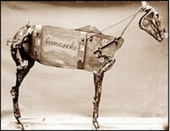 Figure 5. A photograph made in 1890, when naturalist Lewis Lindsay Dyche was mounting the skin of the horse called Comanche, showing what is inside it.